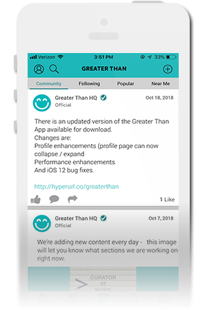 Greater Than Official Mobile App for iPhone & Android